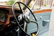 Steering wheel in a vintage car