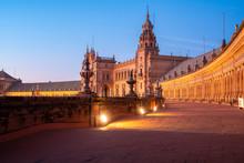 The Plaza De Espana At Sunset,...