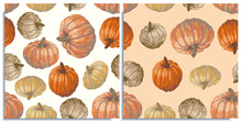 Vector Set Of Seamless Patterns With Wonderful Colorful Different Sort Of Pumpkins, Hand-drawn In Graphic And Real-style. Seasonal Colors: Orange, Beige, Brown. Looks Watercolor, Beautiful, Tasty