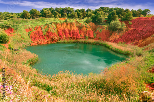 The lake in a old bauxite's quarry in Apulia, Otranto, Salento, Italy Wallpaper Mural