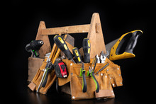 Old Wooden Tool Box. Various DIY Accessories On A Workbench.