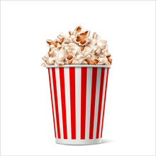 Realistic Popcorn In Red White Striped Paper Bucket. Traditional Movie, Theater Snack Container. Vector Cinema Food Symbol. Entertainment Box.