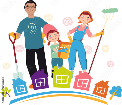 Family participating in a community clean-up event, EPS 8 vector illustration Canvas Print
