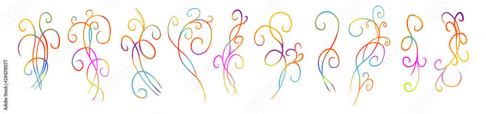 Fototapety, obrazy: Vintage design elements. Varicoloured curly branches shapes isolated on white background. A set of multi-colored abstract curls. Vector illustration.Vector illustration.