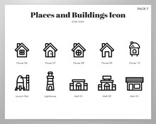 Places And Buildings Icons Lin...