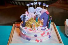 Delicious Rainbow Cake On Plat...