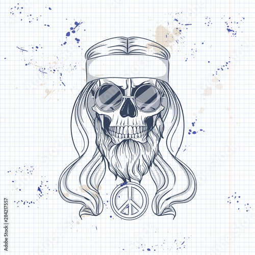 Hippie skull with hair Canvas Print