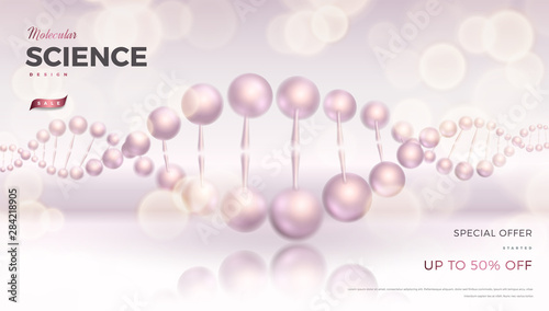 Obraz na plátne Science abstract vector background design with DNA molecular structure