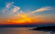 canvas print picture - Sonnenuntergang über der Adria bei Porec, Kroatien