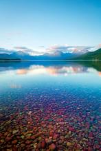 Serene Lake McDonald In Glacier, Montana, USA.