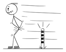 Vector Cartoon Stick Figure Drawing Conceptual Illustration Of Man Skating On Inline Skates, And Painfully Hit His Testicles When Passing Small Post On The Road.