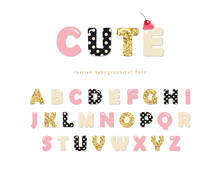 Cute Girly Font. Pastel Pink, ...