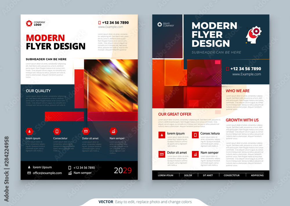 Fototapeta Red Flyer template layout design. Corporate business annual report, catalog, magazine, flyer mockup. Creative modern bright concept with square shapes