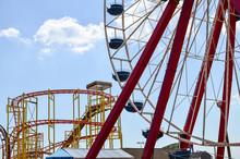 Amusement Park Rides At A Boar...