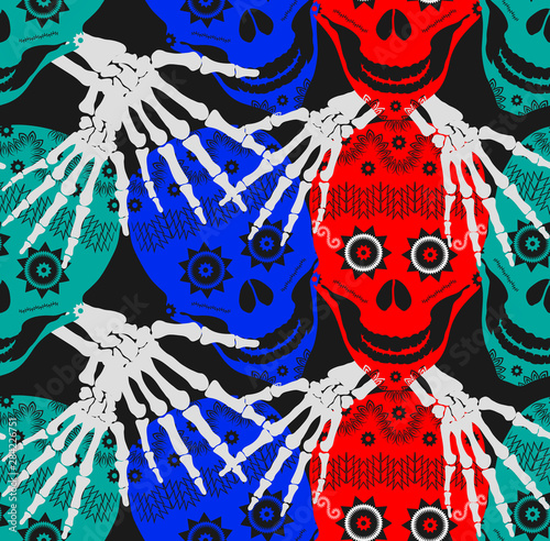 Colorful Red Blue Green Decorative Funny Ghost Skulls Friends