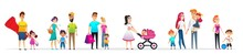 Banner Character Collection Family Walk Cartoon.