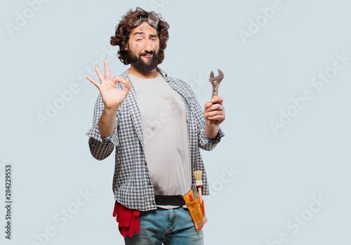 Obraz househusband handyman with a wrench - fototapety do salonu