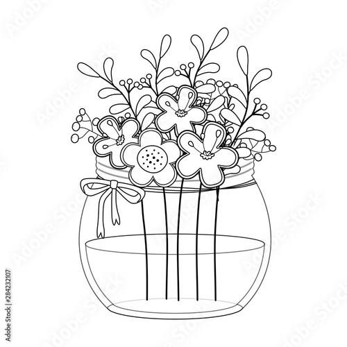 Foto op Aluminium Vogels in kooien Flowers and leaves inside vase vector design