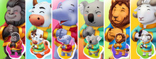Funny Animals. Gorilla, Bull, Elephant, Koala, Lion, Ram. 3d Vector Background