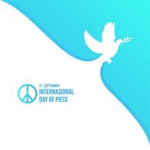 White Dove For International Peace Day Poster Vector Illustration
