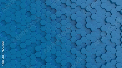 Hexagonal light blue background texture. 3d illustration, 3d rendering