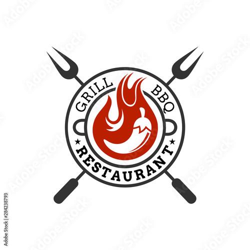 Vászonkép vintage retro BBQ logo, barbecue food vector, spicy chili icon, emblem design