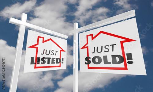 Fotografie, Obraz  Just Listed Sold Real Estate Home for Sale Sign 3d Illustration