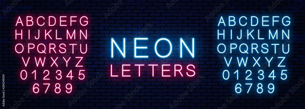 Fototapety, obrazy: Bright neon letters of red and blue color isolated on brick wall background. Vector neon font.