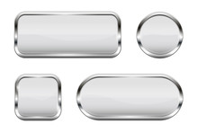 White Glass Buttons. Set Of 3d...
