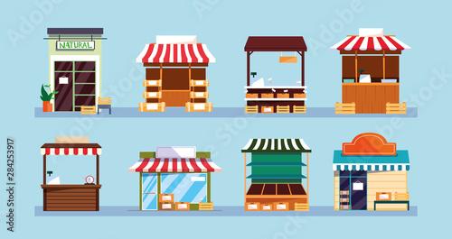 Stampa su Tela set of store facades buildings