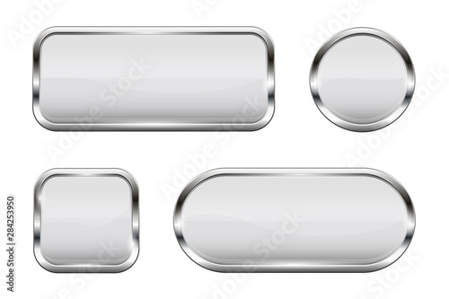 Fotomural White glass buttons. Set of 3d shiny icons with chrome frame