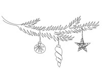 One Line Christmas Tree Branch...