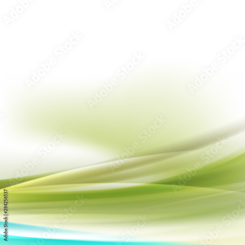 Fototapety, obrazy: Abstract smooth green flow background for nature  tech or science concept presentation, Vector illustration