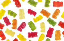 Seamless Pattern Of Isolated Colorful Gummy Bears