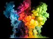 Leinwanddruck Bild - Colorful paint drops from above mixing in water. Ink swirling underwater