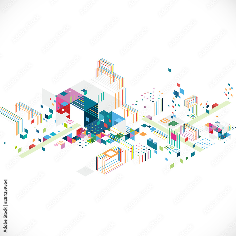 Fototapeta Abstract creative geometrical architect and city concept with colorful graphic and triangle, line, color decoration, vector illustration
