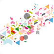 Abstract colorful and creative geometric with a variety of graphic and pattern for corporate business or technology identity design, online presentation website element, vector illustration