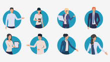 Call Center Managers Talking To Clients. Male And Female Customer Support Phone Operators. Vector Illustration For Banner, Brochure, Advertising
