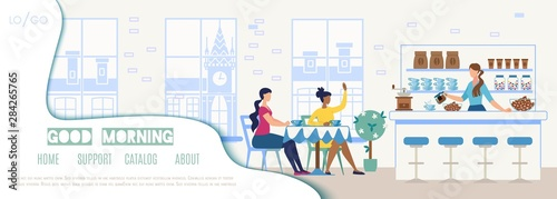 City Cafeteria Flat Vector Web Site Template - 284265765