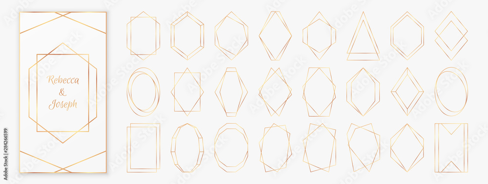 Fototapety, obrazy: Gold polygonal frames collection isolated on light grey background.
