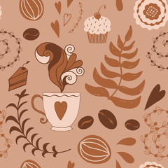 Fototapeta Kawa Coffee pattern seamless brown with hand drawn doodlw cafe elements