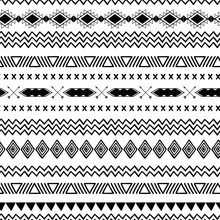 Seamless Tribal Ethnic Pattern Aztec Abstract Background Mexican Ornamental Texture In Black White Color