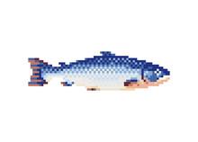Salmon Fish Icon. Pixel Art Flat Style. Isolated Vector Illustration. 8-bit Sprite. Design Stickers, Logo, Mobile App.