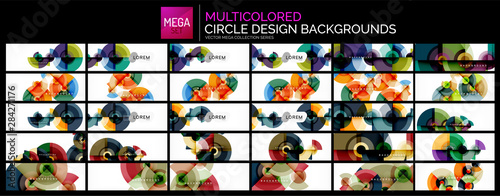 Mega collection of multicolored circle shapes design backgrounds.
