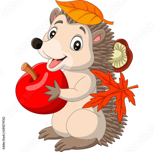 Obraz na płótnie Cartoon baby hedgehog with red apple, autumn leaves and mushroom