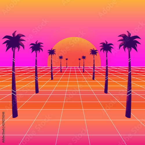 Tela  Synthwave sun and palm trees
