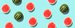 Leinwanddruck Bild - Pattern with ripe watermelon on blue background. Pop art design, creative summer concept