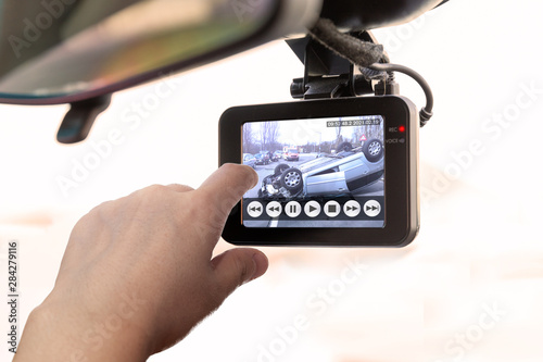 Fototapeta CCTV car camera, recorded car accident scene