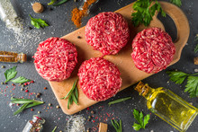 Raw Minced Meat Beef Burger Cutlets
