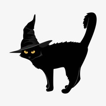 Design Elements For Halloween. Halloween Characters. Black Cat In A Black Hat On A White Background.